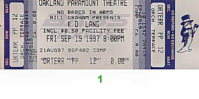 k.d. lang 1990s Ticket from Paramount Theatre on 19 Sep 97: Ticket One