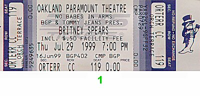Britney Spears 1990s Ticket from Paramount Theatre on 29 Jul 99: Ticket One