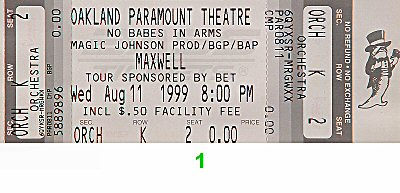 Maxwell 1990s Ticket from Paramount Theatre on 11 Aug 99: Ticket One