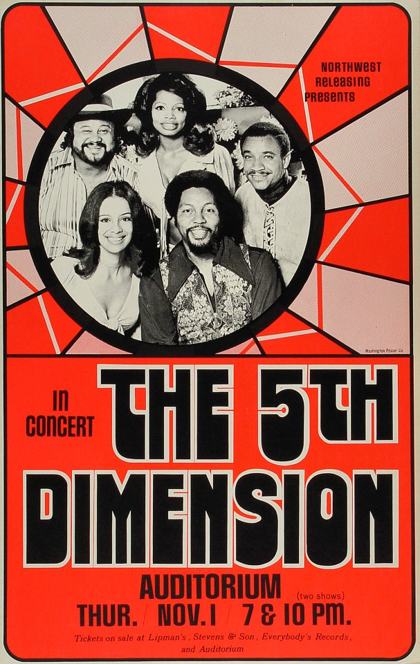 "The 5th Dimension Poster from Portland on 01 Nov 76: 14 1/16"" x 22 1/4"""