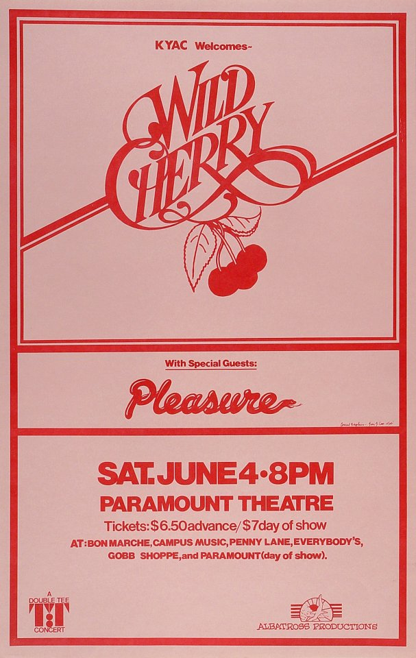 "Wild Cherry Poster from Portland on 04 Jun 77: 14"" x 22"""