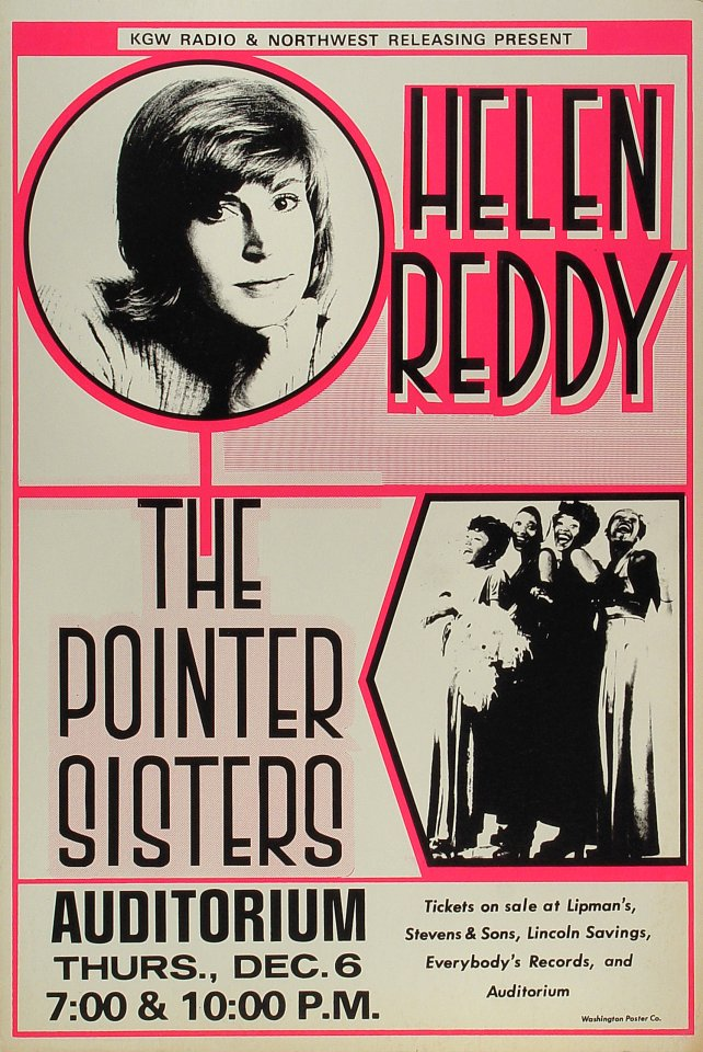 "Helen Reddy Poster from Portland on 06 Dec 77: 15"" x 22 1/2 """