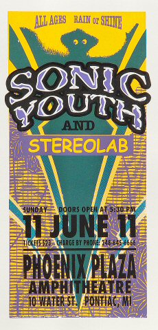 "Sonic Youth Handbill from Phoenix Plaza Amphitheatre on 11 Jun 00: 4 1/4"" x 8 5/8"""