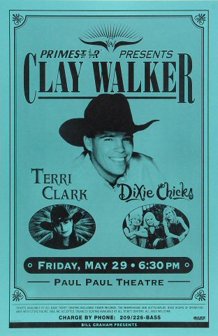 "Clay Walker Poster from Paul Paul Theatre on 29 May 98: 11"" x 17"""