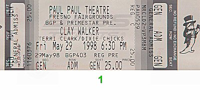 Clay Walker 1990s Ticket from Paul Paul Theatre on 29 May 98: Ticket One