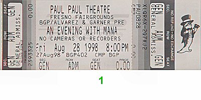 Mana 1990s Ticket from Paul Paul Theatre on 28 Aug 98: Ticket One