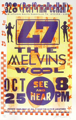 "L7 Poster from Performance Hall on 25 Oct 94: 14 7/8"" x 22 7/8"""