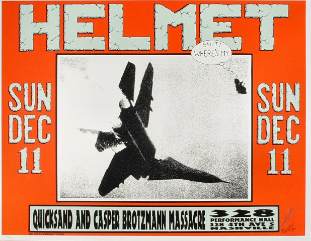 "Helmet Poster from Performance Hall on 11 Dec 94: 17 1/2"" x 22 1/2"""