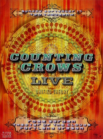 "Counting Crows Poster from Portland Rose Garden on 17 Sep 00: 13"" x 17 3/8"""