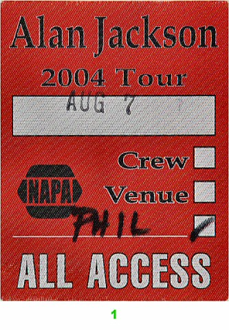 Alan Jackson Backstage Pass from Portland Rose Garden on 07 Aug 04: Pass 1