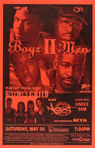 "Boyz II Men Poster from Portland Rose Garden on 30 May 99: 11"" x 17"""