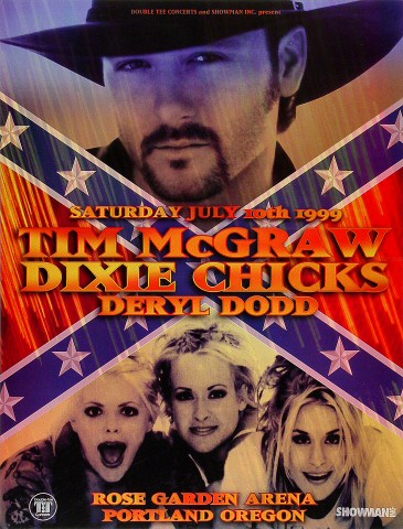 "Dixie Chicks Poster from Portland Rose Garden on 10 Jul 99: 13"" x 17"""