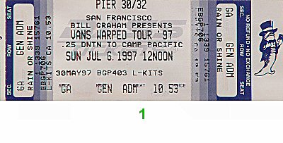 Social Distortion 1990s Ticket from Pier 30/32 on 06 Jul 97: Ticket One
