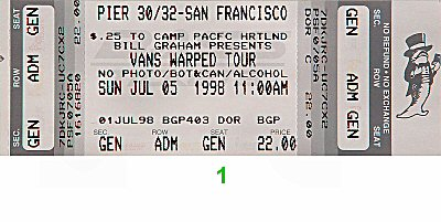 Rancid 1990s Ticket from Pier 30/32 on 05 Jul 98: Ticket One