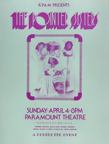 "The Pointer Sisters Poster from Paramount Theatre Austin on 04 Apr 74: 16 5/8"" x 22"""