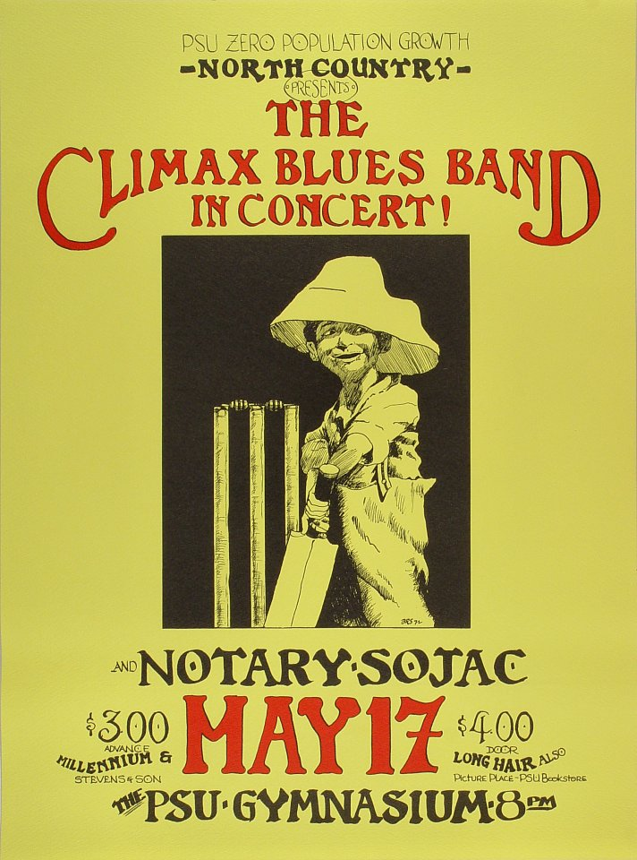 "Climax Blues Band Poster from Portland State University Gymnasium on 17 May 72: 17"" x 23"""