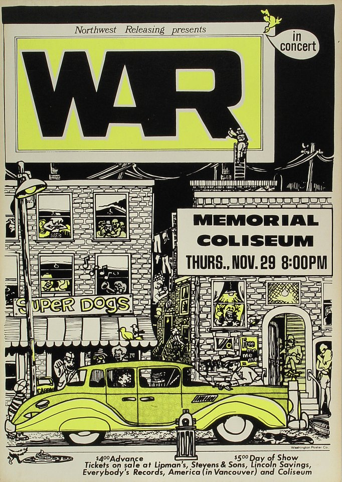 "War Poster from Portland Memorial Coliseum on 29 Nov 73: 15"" x 21 1/8"""