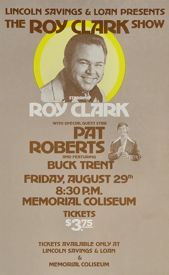 "Roy Clark Poster from Portland Memorial Coliseum on 29 Aug 77: 10 5/8"" x 17 1/8"""