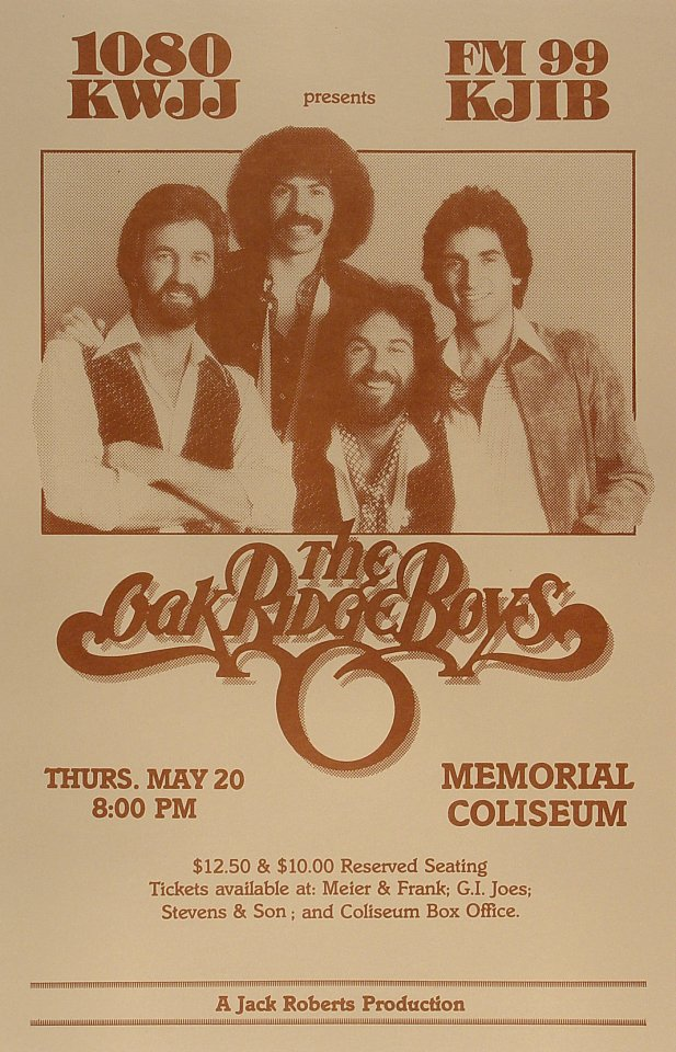 "The Oak Ridge Boys Poster from Portland Memorial Coliseum on 20 May 82: 11"" x 17"""