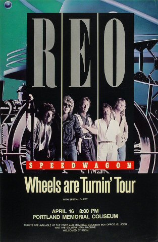 "REO Speedwagon Poster from Portland Memorial Coliseum on 16 Apr 84: 14 1/2"" x 22 1/8"""