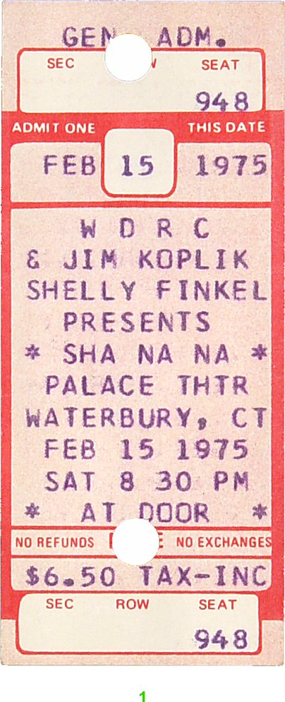 Sha Na Na 1970s Ticket from Palace Theater Waterbury on 15 Feb 75: Ticket One