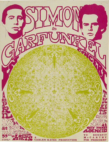 "Simon & Garfunkel Handbill from Palestra, University of Pennsylvania on 18 Apr 68: 6 3/4"" x 8 3/4"""