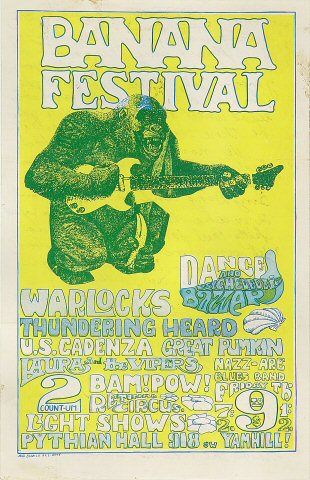 "The Warlocks Handbill from Pythian Ballroom on 09 Jun 67: 5 1/2"" x 8 1/2"""