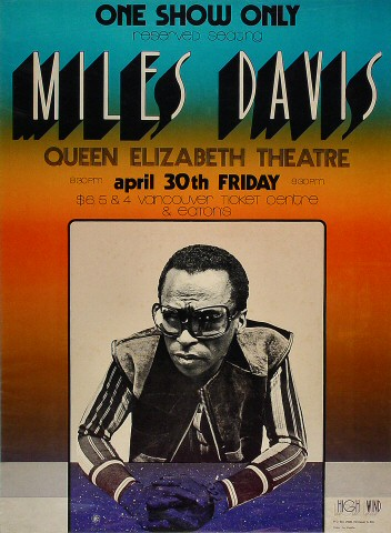 "Miles Davis Poster from Queen Elizabeth Theatre on 30 Apr 71: 16 1/4"" x 22"""