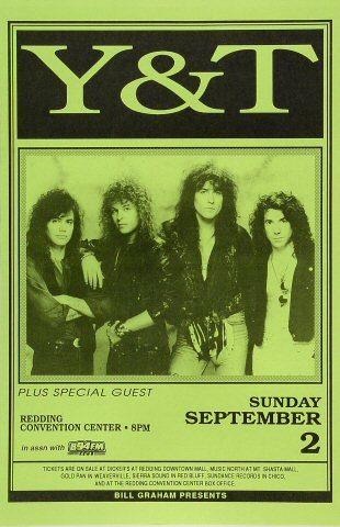 "Y&T Poster from Redding Convention Center on 02 Sep 90: 11"" x 17"""