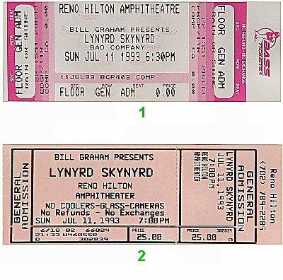 Lynyrd Skynyrd 1990s Ticket from Reno Hilton Amphitheatre on 11 Jul 93: Ticket One