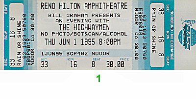 The Highwaymen 1990s Ticket from Reno Hilton Amphitheatre on 01 Jun 95: Ticket One
