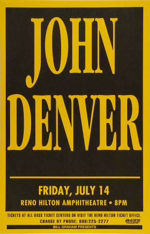 """John Denver Poster from Reno Hilton Amphitheatre on 14 Jul 95: 11"""" x 17"""""""