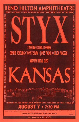 "Styx Poster from Reno Hilton Amphitheatre on 07 Aug 96: 11"" x 17"""