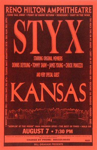 """Styx Poster from Reno Hilton Amphitheatre on 07 Aug 96: 11"""" x 17"""""""