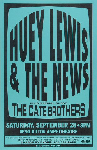 """Huey Lewis & the News Poster from Reno Hilton Amphitheatre on 28 Sep 96: 11"""" x 17"""""""