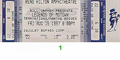 The Temptations 1990s Ticket from Reno Hilton Amphitheatre on 15 Aug 97: Ticket One
