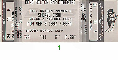 Sheryl Crow 1990s Ticket from Reno Hilton Amphitheatre on 08 Sep 97: Ticket One