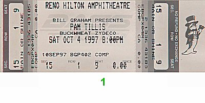 Pam Tillis 1990s Ticket from Reno Hilton Amphitheatre on 04 Oct 97: Ticket One