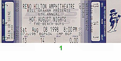 The Beach Boys 1990s Ticket from Reno Hilton Amphitheatre on 08 Aug 98: Ticket One