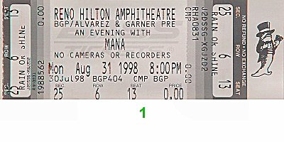 Mana 1990s Ticket from Reno Hilton Amphitheatre on 31 Aug 98: Ticket One