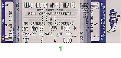 Seal 1990s Ticket from Reno Hilton Amphitheatre on 22 May 99: Ticket One