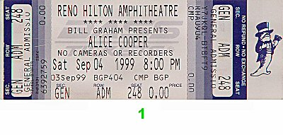 Alice Cooper 1990s Ticket from Reno Hilton Amphitheatre on 04 Sep 99: Ticket One