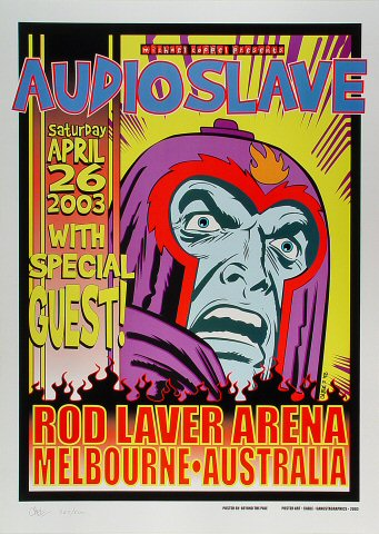 "Audioslave Poster from Rod Laver Arena on 26 Apr 03: 19 11/16"" x 27 1/2"""