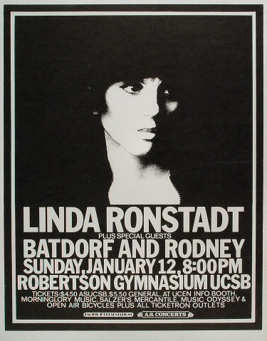 "Linda Ronstadt Poster from Robertson Gym on 12 Jan 75: 17 1/2"" x 22 1/2"""