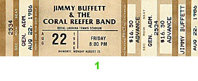 Jimmy Buffett 1980s Ticket from Royal Lahaina Tennis Stadium on 22 Aug 86: Ticket One