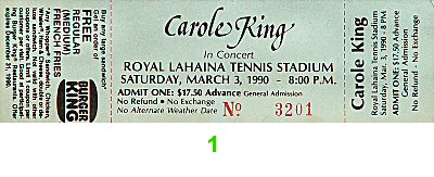Carole King 1990s Ticket from Royal Lahaina Tennis Stadium on 03 Mar 90: Ticket One