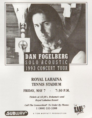 "Dan Fogelberg Handbill from Royal Lahaina Tennis Stadium on 07 May 93: 8 1/2"" x 11"""