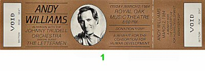 Andy Williams 1980s Ticket from Royal Oak Music Theatre on 02 Mar 84: Ticket One
