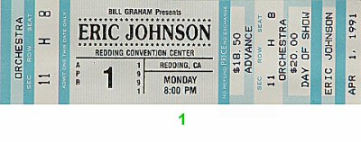 Eric Johnson 1990s Ticket from Redding Convention Center on 01 Apr 90: Ticket One