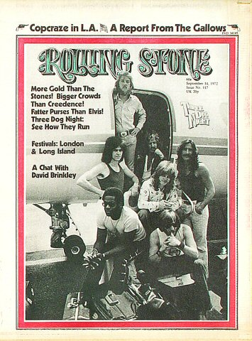 Three Dog Night Rolling Stone Magazine  on 14 Sep 72: Magazine